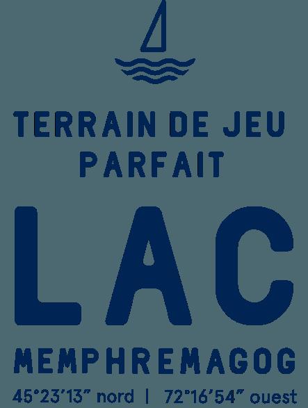 logo du club de voile avec la mention ''terain de jeu parfait, lac Memphremagog''